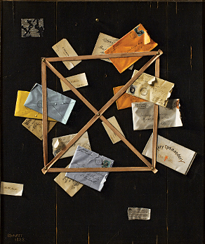 Fig. 6: William Michael Harnett (1848–1892) Mr. Hulings' Rack Picture, 1888 Oil on canvas, 30 x 25 inches From the collection of a Dartmouth parent
