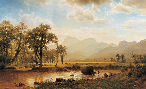 Fig. 4: Albert Bierstadt (1830–1902) Haying, Conway Meadows (Peace and Plenty, North Conway, New Hampshire), 1864 Oil on canvas, 36 x 58 inches From the collection of a Dartmouth parent