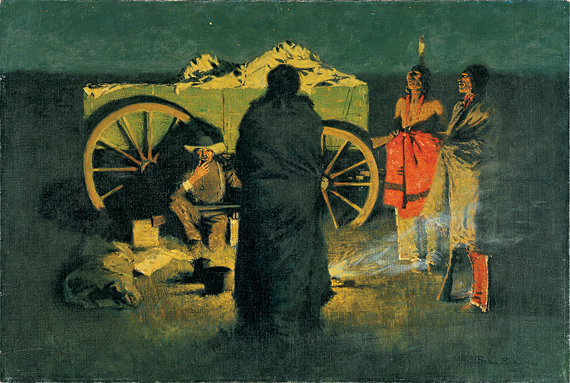 Fig. 10: Frederic Remington (1861–1909) Shotgun Hospitality, 1908 Oil on canvas, 27 x 40 inches Hood Museum of Art, Dartmouth College: Gift of Judge Horace Russell, Class of 1865; P.909.2