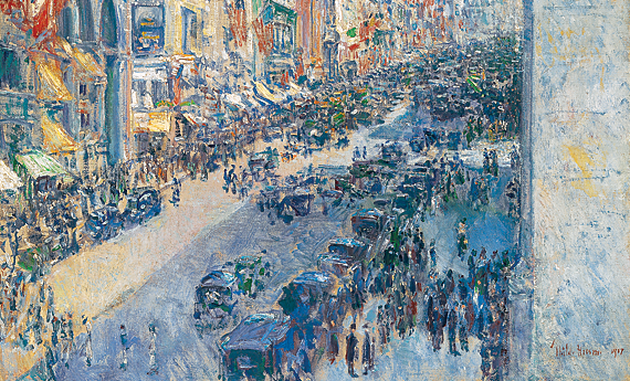 Fig. 13: Childe Hassam (1859–1935) Up the Avenue from 34th Street, May 1917 Oil on canvas, 36 x 30 inches  From the collection of a Dartmouth parent