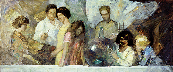 Fig. 1: N. C. Wyeth (1882–1945) Study for Family Portrait, ca. 1927 Oil on canvas, 23 x 40 inches Brandywine River Museum, Chadds Ford, Pa., 96.1.47