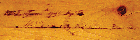 "Detail of the proper left document drawer showing the ink and pencil inscriptions: ""William Luscomb 3rd 1794 Sept 4th/This desk made by J & E Saunderson Salem."""