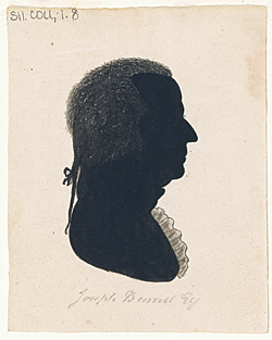 Joseph Barrell (1740–1804), silhouette by an unidentified artist, ca. 1790. Black ink with ink, China white, and graphite additions. From the Bulfinch family papers, Massachusetts Historical Society.