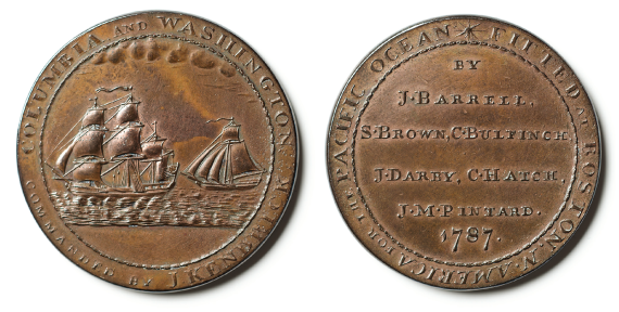 Copper Columbia-Washington medal, design attributed to Joseph Barrell (1740–1804); dies attributed to Joseph Callender, Boston, 1787 (second reverse with filed edges). Gift of Joseph Barrell, who commissioned the medal, on behalf of the merchants who sponsored that voyage, 1791, Massachusetts Historical Society.