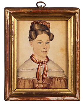 "Fig. 9: Rufus Porter (1792–1884), Julia Lottie Hills, Plainville, Conn., 1835. Inscribed on back ""Lottie Hills aged 15 years, 1835, drawn by Rufus Porter."" Watercolor and ink, 4-1/8 x 2-3/4 inches. Courtesy of David A. Schorsch and Eileen M. Smiles, Woodbury, Conn.  This is one of three miniatures of the family of wheelwright Elias Hills. At the time of this sitting, Lottie was residing at her grandfather's farm in Plainville, Connecticut. The artist undoubtedly obtained this commission while marketing his self-adjusting cheese press to local residents. This was his third invention patented the same year he did this portrait."