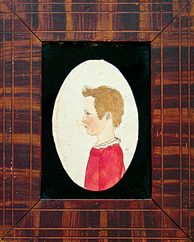 "Fig. 3: Attributed to Rufus Porter (1792–1884), Child of Lane Family, Minot, Maine, ca. 1815. Inscribed on backboard in a later hand: ""R. Porter."" Watercolor, approx. 6 x 4-1/2 inches (framed). Original Porter grained frame. Descended in the family. Charles M. Talbot Associates, Poland, Maine, 2007 estate auction. Image courtesy of Linda Carter Lefko."