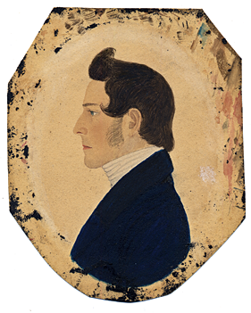 Fig. 5: Attributed to Rufus Porter (1792–1884), Abraham H. Edwards (1796–1870), Cambridge, Mass., ca. 1819. Watercolor and graphite, 3-1/2 x 2-3/4 inches. Private collection.  The grandson of Israel Porter, Abraham's miniature has all the critical hallmarks of Porter's hand: the oval-shaped pupil, the mouth is crisply delineated with a deep brown/red line, and the ear has a distinctive c-shaped hollow.  The brushstrokes around the margins are typical of Porter's work and are also present on figure 4 as noted.