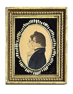 "Fig. 7: Attributed to Rufus Porter (1792–1884), Jonathan Smith (1805–1880) and his wife Pamelia Moors (1803–1860), Chelmsford, Mass., 1825. Inscribed on back: ""wedding picture of Allan S. Dewer's great-great-grandparents Smith (mother's side of family)."" Watercolor, ink, and graphite, 3-1/2 x 2-3/4 inches. Original églomisé glass and gilt frame. Rufus Porter Museum, Bridgton, ME.  This is a good example of how Porter's style progresses. By 1825, instead of rhythmical deft touches of the brush in watercolor, his focus has shifted to a more precise rendering of light and shadow making for a more static and sculptural reading of his subjects."