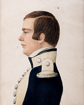 "Fig. 2: Attributed to Rufus Porter, Portrait of an Officer, ca/ 1820. Watercolor, gouache & graphite on card, 4 x 3-1/8 inches. Collection of Tracey Goodnow. Photography by: Michael Fredericks.  Although it is not signed, this miniature has many of the hallmarks of Porter's hand: 1. Paint is applied with great precision—individual eyelashes and shafts of hair are painstakingly rendered 2. The sitter is posed in profile with an absolutely forward gaze 3. The pupil of the sitter's eye has a distinctive oval shape 4. A deep brown/red line defines the separation of the sitter's lips 5. There is a distinctive ""c"" shape to the hollow of his ear 6. Light and shadow are rendered with great skill"