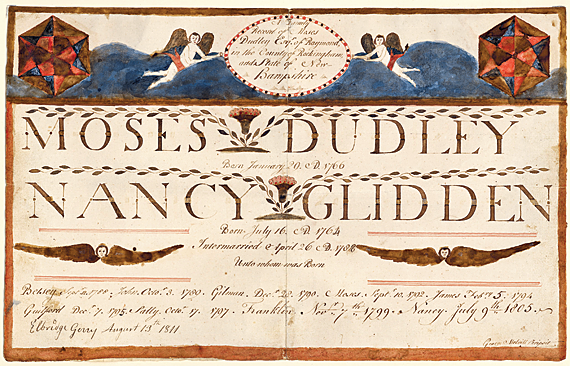 "Fig. 3: ""A Family Record of Moses Dudley Esqr. of Raymond, in the County of Rockingham, and State of New-hampshire,"" signed George Melvill Scripsit, ca. 1797. Ink and watercolor on paper, 9-1/2 x 15-1/4 inches. Courtesy of the New Hampshire Historical Society; gift of Christine D. Foster."