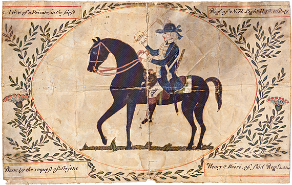 "Fig. 1: ""A View of a Private in the First Regt. of N.H. Light-Horse on Duty."" Attributed to George Melvill (working 1780s and 1790s), 1784–1792. Ink and watercolor on paper, 8 x 12-/8 inches. Courtesy of the New Hampshire Historical Society Katharine Prentis Murphy Fund."