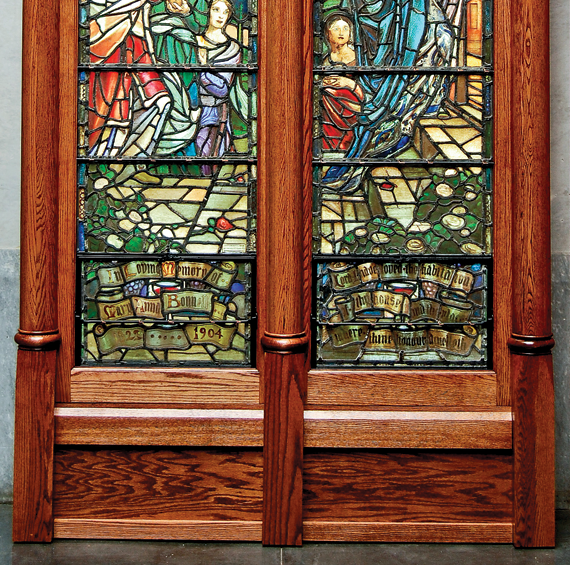 Violet Oakley (1874–1961) The Wise and Foolish Virgins, 1908–1909 Stained glass lancet windows, 100 x 23-1/4 inches in each window John S. Phillips Fund (2009.2.1a&b)
