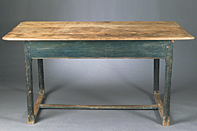 Fig. 1: Louisiana cypress table with original Prussian blue paint, early nineteenth-century. H 28-3/4, W. 34, D. 57 in. Image courtesy of Neal Auction Company.