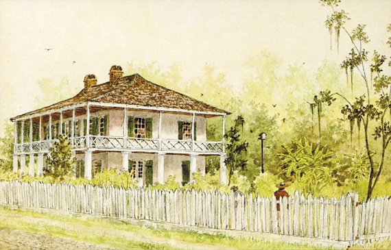 Fig. 2: Don Reggio (b. 1950) Pitot House, Bayou St. John, 1975. Watercolor, 11 x 13 inches. This plantation home, formerly of James (Jacques-François) Pitot, first mayor of New Orleans, 1804–1805, was built circa 1799 and remains largely intact. Image courtesy of Mr. Reggio and the Louisiana Landmarks Society.