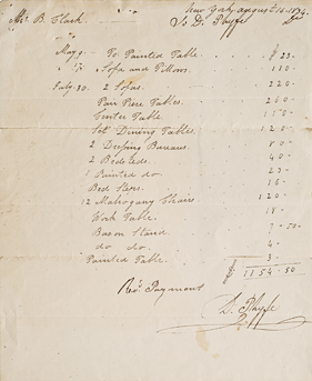 Fig. 7: Receipted invoice to Mr. B[enjamin] Clark, August 16, 1834. Photography by John Reinhardt. Courtesy, Mr. and Mrs. Robert L. Hammett.