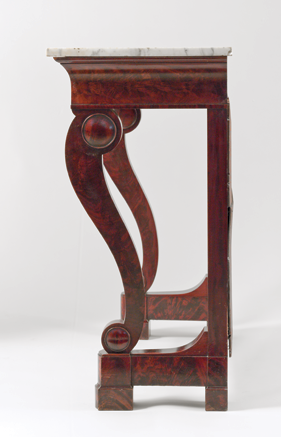 Fig. 8: Duncan Phyfe (1770–1854), detail of pier table, 1834. Mahogany veneer, marble, looking-glass plate. H. 35-1/2, W. 42-1/2, D. 18-1/8 in. Courtesy, The White House, Washington, D.C., White House Acquisition Fund, 1961 (961.45.1).