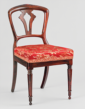 Fig. 15: Attributed to D. Phyfe & Son (1840–1847), side chair, 1841. Rosewood, rosewood veneer; secondary wood: ash. H. 32-1/8, W. 17-1/4, D. 20-1/8 in. Courtesy, Collection of Richard Hampton Jenrette.