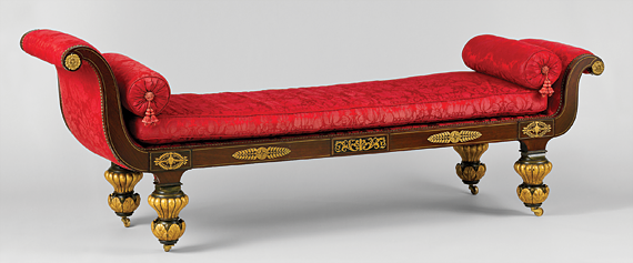 Fig. 5: Attributed to Duncan Phyfe (1770–1854), Grecian couch or daybed, 1826. Rosewood veneer, gilded gesso and vert antique, gilded brass; secondary wood: ash. H. 20-3/8, W. 86-1/2, D. 25-1/2 in. Courtesy, Brooklyn Museum, Anonymous gift (42.118.11).