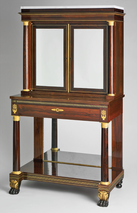 Fig. 6: Attributed to Duncan Phyfe (1770–1854), secretary bookcase, probably 1822. Rosewood veneer, mahogany, gilded gesso and vert antique, gilded brass, die-stamped brass borders, marble; secondary woods: yellow poplar, white pine, mahogany. H. 67-3/4, W. 38, D. 22-7/8 in. Courtesy, Hirschl & Adler Galleries, New York.