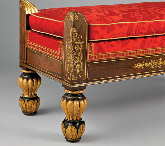 Fig. 4: Duncan Phyfe (1770–1854), detail of window seat, 1826. Rosewood veneer, stenciled and free-hand gilding, gilded gesso and vert antique; secondary woods: ash, cherry or gumwood. H. 19-1/4, W. 42-1/2, D. 17 in. Courtesy, Brooklyn Museum, Anonymous gift (42.118.12).