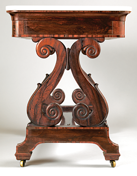 Fig. 14: Attributed to D. Phyfe & Son (1840–1847), detail sofa or occasional table, 1841. Rosewood, rosewood veneer, rosewood-grained mahogany, marble; secondary woods: mahogany, white pine, yellow poplar. H. 30-7/8, W. 42-1/8, D. 24-1/8 in. Courtesy, Mulberry Plantation, Camden, S.C.