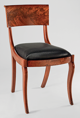 Fig. 10: Duncan Phyfe (1770–1854), Grecian side chair, 1834. Mahogany veneer, mahogany; secondary woods: ash, cherry or maple. H. 32-1/2, W. 18, D. 22 in. Photography by John Reinhadt. Courtesy, Mr. and Mrs. Robert L. Hammett.