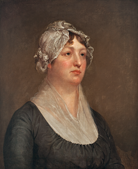 Fig. 8: Att. to Rembrandt Peale (1778–1819), Mary Pennington Barton, Philadelphia, ca. 1805. Oil on canvas, 26-1/4 x 21-3/8 inches. Gift of J. Dennis Delafield, MP. (88.213).  Rembrandt Peale, the second oldest son of Charles Willson Peale, studied art in London and France while also finding time to co-found a museum with his brother Raphaelle and helping his father to excavate mastodon skeletons. This portrait of Mary Pennington Barton (1771–1819)—neoclassical in air, subtly tinted, and finely painted—is typical of his refined offerings. Mrs. Barton's dreamy gaze is not hers alone, but can be found in other Rembrandt Peale portraits.