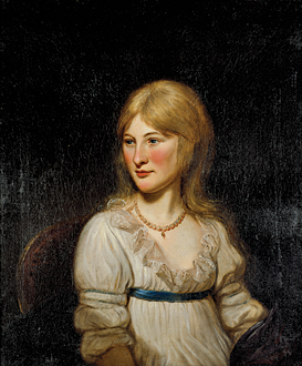 Fig. 6: Charles Willson Peale (1741–1827), Eva Margaret DePeyster, New York, June 1798. Oil on canvas, 29-1/2 x 24-1/2 inches. (PM.65.861).  Related to the sitter by marriage, Peale recorded in his diary that he painted the teenager's likeness as a surprise for her parents while they attended church one Sunday in June 1798.