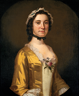 Fig. 4: John Wollaston (active ca. 1742–1775), Mary Philipse, New York, ca. 1750. Oil on canvas, 29 x 24 inches. Gift of Mrs. John D. Rockefeller Jr. (PM.80.2).  Mary Philipse is perhaps best known for her friendship with George Washington during the 1750s, but her circumstances changed dramatically later. The extended Philipse family remained loyal to the crown during the American Revolution. These once-wealthy and powerful Anglo-Dutch elites were attainted of treason, fled to England, and their property was seized by the patriot government.