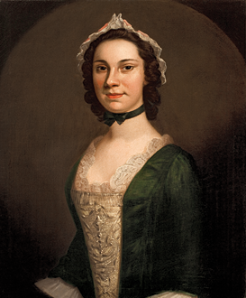 Fig. 5: John Wollaston (active ca. 1742–1775), Margaret Philipse, New York, ca. 1750. Oil on canvas, 29 x 24 inches. Gift of Mrs. John D. Rockefeller Jr. (PM.80.1).