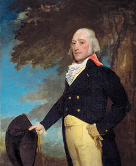 Fig. 9: Gilbert Stuart (1755–1828), Captain Frederick Philipse, New York, 1793–1795. Oil on canvas, 58-1/4 x 47-1/2 inches. Gift of John D. Rockefeller Jr. (PM.80.11).  Loyal to the throne and anxious for work, the Rhode Island-born Stuart spent the Revolutionary War years in London studying painting. There he adopted the elegant style of portraiture practiced by Thomas Gainsborough and Joshua Reynolds. He settled in New York in 1793. Hallmarks of Stuart's style include his secure application of paint, bold brushwork, and the layering of glazes that give his subjects glowing skin tones.