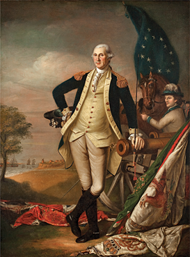 "Fig. 7: Att. to James Peale (1749–1831), George Washington at Yorktown, Philadelphia, ca. 1795. Oil on canvas, 35-1/2 x 26-1/2 inches. (VC.80.8).  This depiction of General Washington at the final major battle of the Revolutionary War is attributed to James Peale. In 1779, the Supreme Executive Council of Pennsylvania had commissioned Charles Willson Peale to paint a portrait of George Washington, the start of what would become a sort of Peale family business. Members of his family, including his brother James, took up their brushes and palettes to help satisfy the great demand for likenesses of ""the Father of Our Country."""
