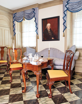 Fig. 11: View of Van Cortlandt Manor house parlor showing Pierre Van Cortlandt by John Wesley Jarvis (1780–1840), probably New York City, ca. 1810. Oil on canvas, 33 x 27 inches. Photography by Bryan Haeffele. (VC.58.189).  The charmingly ostentatious John Wesley Jarvis could be considered one of New York's first bohemians. His splashy appearance as an adult could not have been anticipated during his childhood. Jarvis was born in England into a religious family. John Wesley, the founder of Methodism, was a great-great-uncle; a fact that would have been warmly received by the Van Cortlandts, early supporters of the Methodist movement in New York. As a child, Jarvis came to America with his family. Aside from painting trips made in the American South, the prolific artist used New York as a base of operations for most of his career.