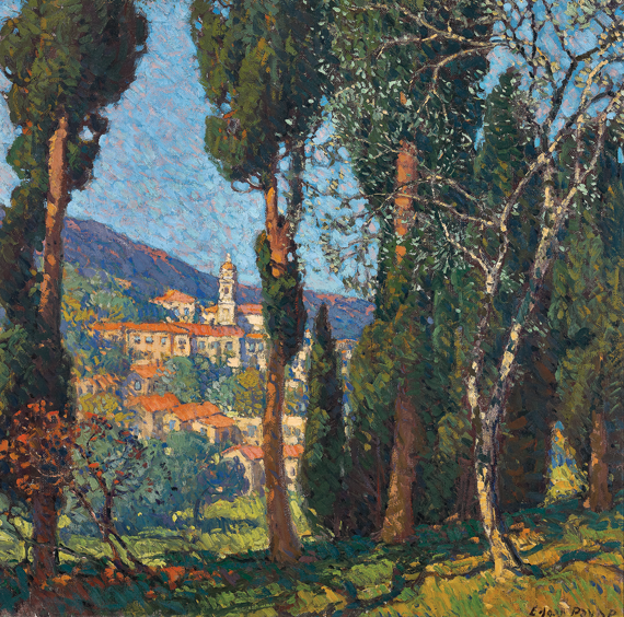 Fig. 12: Edgar Alwin Payne (1883–1947) Along the Riviera, Menton, France, 1922 Oil on canvas, 29 x 29 inches Collection of James Taylor and Gary Conway
