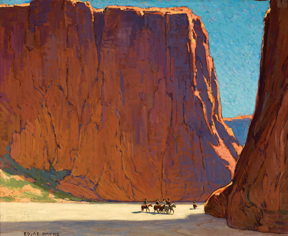 Fig. 1: Edgar Alwin Payne (1883–1947)  Sunset, Canyon de Chelly, 1916 Oil on canvas, 28 x 34 inches Mark C. Pigott Collection.