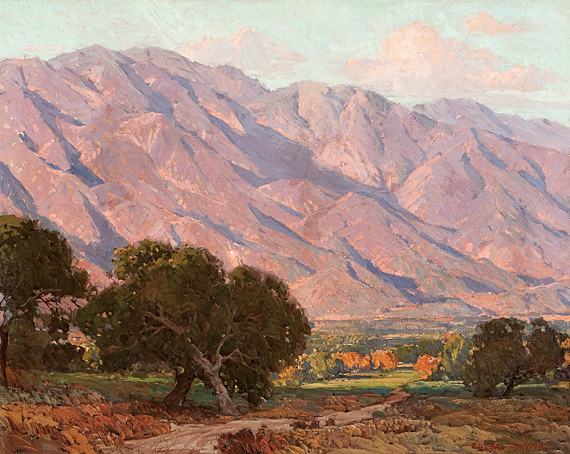 Fig. 2: Edgar Alwin Payne (1883–1947)  Hills of Altadena, 1917–1919 Oil on canvas, 36 x 45 inches Steven Stern Collection