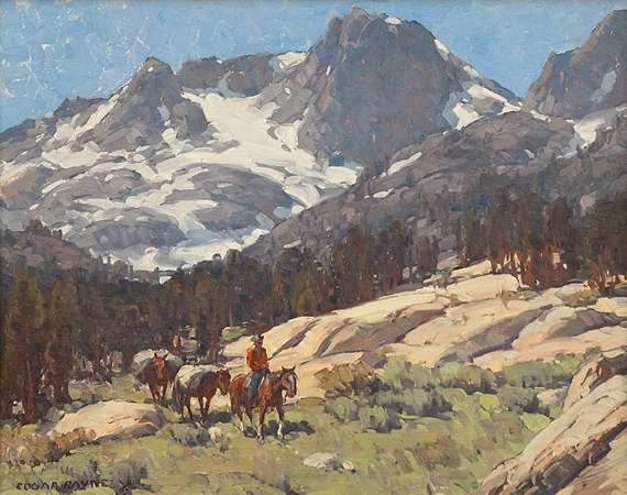 Fig. 6: Edgar Alwin Payne (1883–1947)  Pack Train in the High Sierra, 1930s Oil on canvas, 30 x 40 inches Collection of Gilbert and Nancy Waldman Courtesy of John R. Howard Fine Art