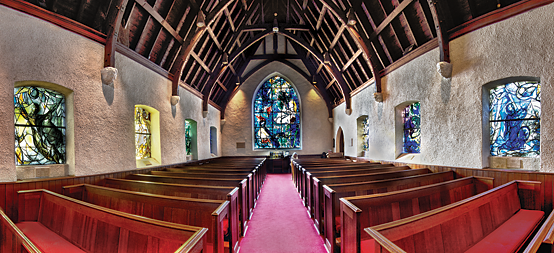 Fig. 4: Stained glass windows by European masters Henri Matisse and Marc Chagall transformed the Union Church of Pocantico Hills, where the Rockefeller family has long worshipped. Photography by Jaime Martorano.