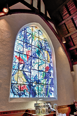 Fig. 3: Stained glass windows by European masters Henri Matisse and Marc Chagall transformed the Union Church of Pocantico Hills, where the Rockefeller family has long worshipped. Photography by Jaime Martorano.