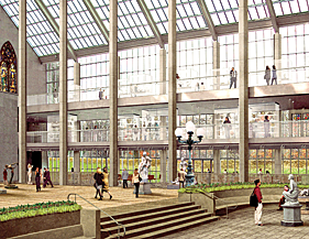 Rendering of the Charles Englehard Court, The New American Wing. Kevin Roche John Dinkeloo and Associates, 2008.