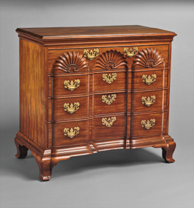 Chest of drawers, made by John Townsend (1732–1809), Newport, R. I., 1765. Mahogany, tulip poplar, pine, chestnut.  H. 34-1/2, W. 37-1/2, D. 20-3/4 in. Rogers Fund, 1927 (27.57.1).