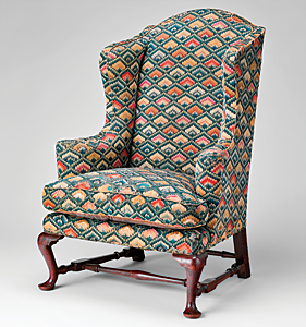 Easy chair, made by Caleb Gardner (d. 1761). Newport, R. I., 1758. Walnut, maple. H. 46-3/8, W. 32-3/8, D. 25-7/8 in. Gift of Mrs. J. Insley Blair, 1950 (50.228.3).