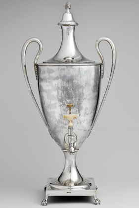Fig. 4: Paul Revere Jr. (1734–1818), Tea Urn, Boston, Mass., 1791. Silver and ivory. H: 22-1/4, W: 10-5/8, D: 10-3/8 in.; WT: 110 oz. 10 dwt. (3437.2 g). Purchase, The Annenberg Foundation Gift, Annette de la Renta, Mr. and Mrs. Robert G. Goelet, Drue Heinz, and Henry R. Kravis Foundation Inc. Gifts, Friends of the American Wing Fund, Margaret Dewar Stearns Bequest, Mr. and Mrs. Anthony L. Geller and Herbert and Jeanine Coyne Foundation Gifts, Max H. Gluck Foundation Inc. Gift, in honor of Virginia and Leonard Marx, and Rogers, Louis V. Bell and Dodge Funds; and Gift of Elizabeth K. Rodiger, 1990 (1990.226a–d)