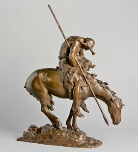 Fig. 1: James Earle Fraser (1876–1953), End of the Trail, modeled 1918; cast by 1919. Bronze. H. 33, W. 26, D. 8-3/4 in. Purchase, Friends of the American Wing Fund, Mr. and Mrs. S. Parker Gilbert Gift, Morris K. Jesup and 2004 Benefit Funds, 2010 (2010.73).