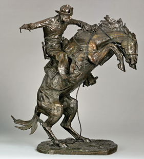 Fig. 2: Frederic Remington (1861–1909), The Broncho Buster, modeled 1895; revised 1909; cast by November 1910. Bronze. H. 32-1/4, W. 27-1/4, D. 15 in. Bequest of Jacob Ruppert, 1939 (39.65.45).