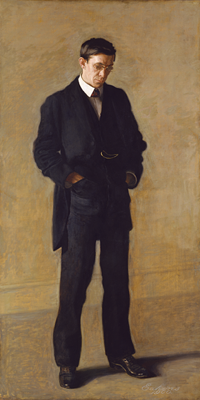 Fig. 5: Thomas Eakins (1844–1916), The Thinker: Portrait of Louis N. Kenton, 1900. Oil on canvas, 82 x 42 inches. John Stewart Kennedy Fund, 1917 (17.172).