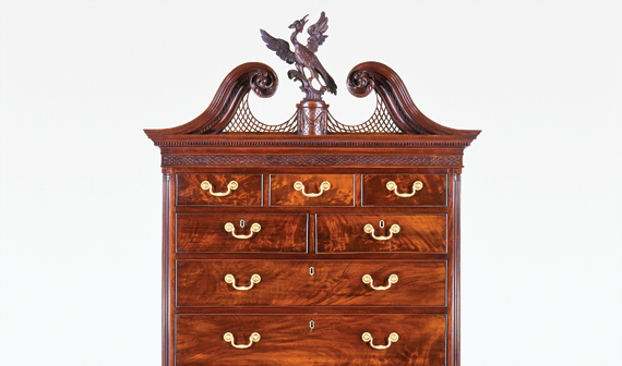 Chest-on-chest, attributed to Thomas Affleck (1740–1795) and James Reynolds (1736–1794), Philadelphia, 1770–1775. Mahogany, white cedar, yellow pine, tulip poplar. H. 97-1/2, W. 46-7/8, D. 24-1/4 in. Photography by Richard Cheek. Purchase, Friends of the American Wing and Rogers Funds; Virginia Groomes Gift, in memory of Mary W. Groomes, and Mr. and Mrs. Frederick M. Danziger, Herman Merkin, and Anonymous Gifts, 1975 (1975.91).