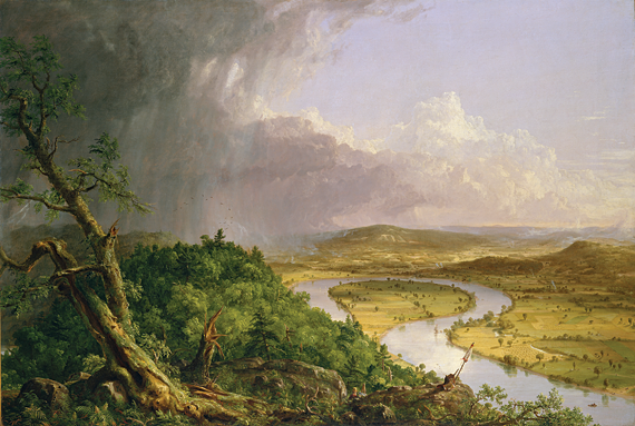 Fig. 1: Thomas Cole (1801–1848), View from Mount Holyoke, Northampton, Massachusetts, after a Thunderstorm — the Oxbow, 1836. Oil on canvas, 51-1/2 x 76 inches. Gift of Mrs. Russell Sage, 1908 (08.228).
