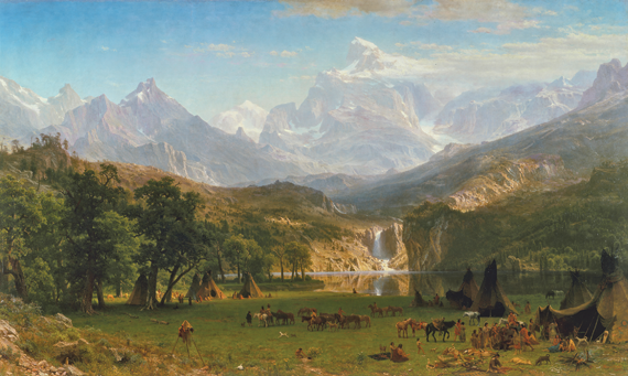 Fig. 3: Albert Bierstadt (1830–1902), The Rocky Mountains, Lander's Peak, 1863. Oil on canvas, 73-1/2 x 120-3/4 inches. Rogers Fund, 1907 (07.123).