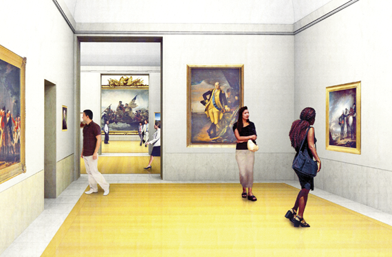 Rendering of The New American Wing Galleries. Kevin Roche John Dinkeloo and Associates, 2008.